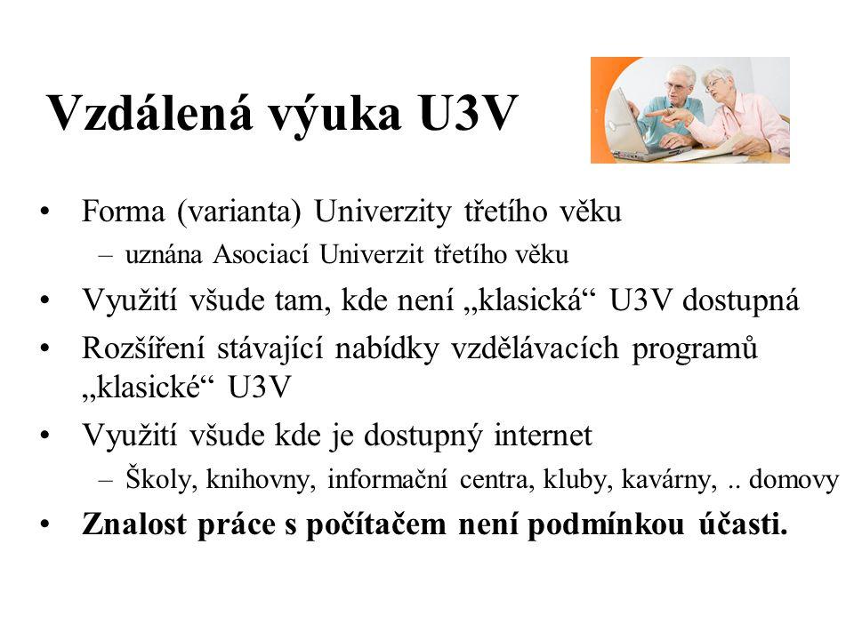 """Vzdálená výuka U3V Forma (varianta) Univerzity třetího věku –uznána Asociací Univerzit třetího věku Využití všude tam, kde není """"klasická U3V dostupná Rozšíření stávající nabídky vzdělávacích programů """"klasické U3V Využití všude kde je dostupný internet –Školy, knihovny, informační centra, kluby, kavárny,.."""
