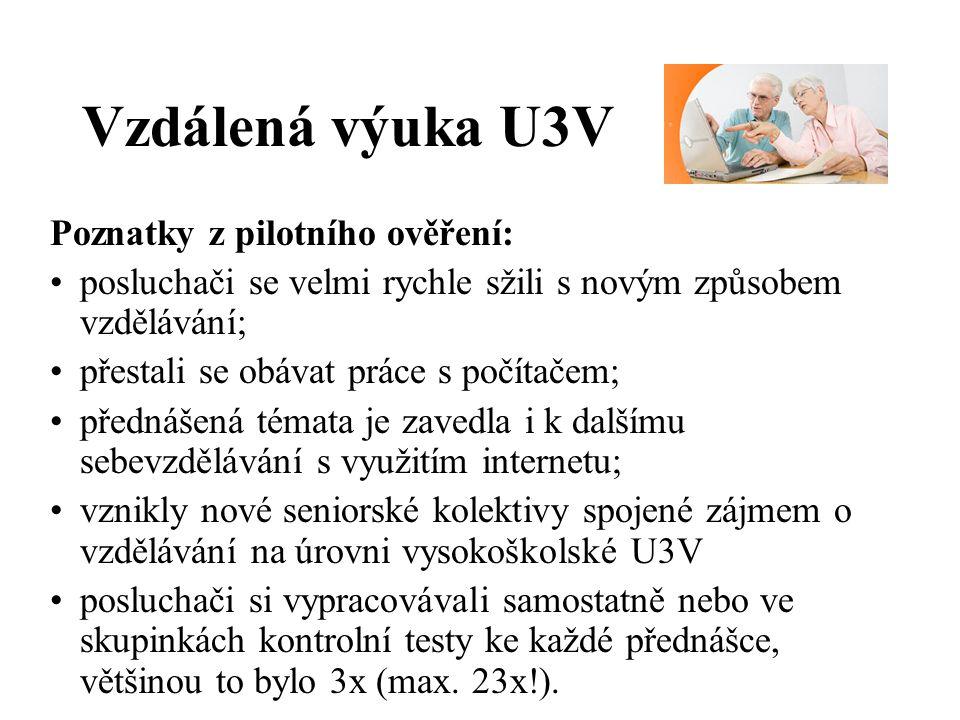 Vzdálená výuka U3V Z čeho se skládá.Multimediální (video) přednášky –cca 40 min.