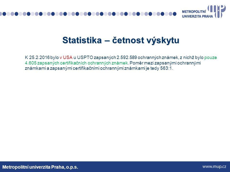 Statistika – četnost výskytu K 25.2.2016 bylo v USA u USPTO zapsaných 2.592.589 ochranných známek, z nichž bylo pouze 4.605 zapsaných certifikačních ochranných známek.