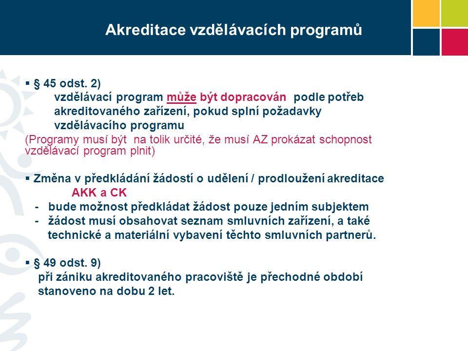 Akreditace vzdělávacích programů  § 45 odst.