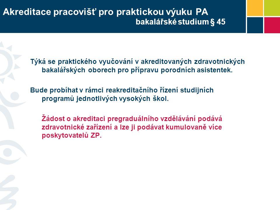 Akreditace pracovišť pro praktickou výuku PA bakalářské studium § 45 Týká se praktického vyučování v akreditovaných zdravotnických bakalářských oborech pro přípravu porodních asistentek.