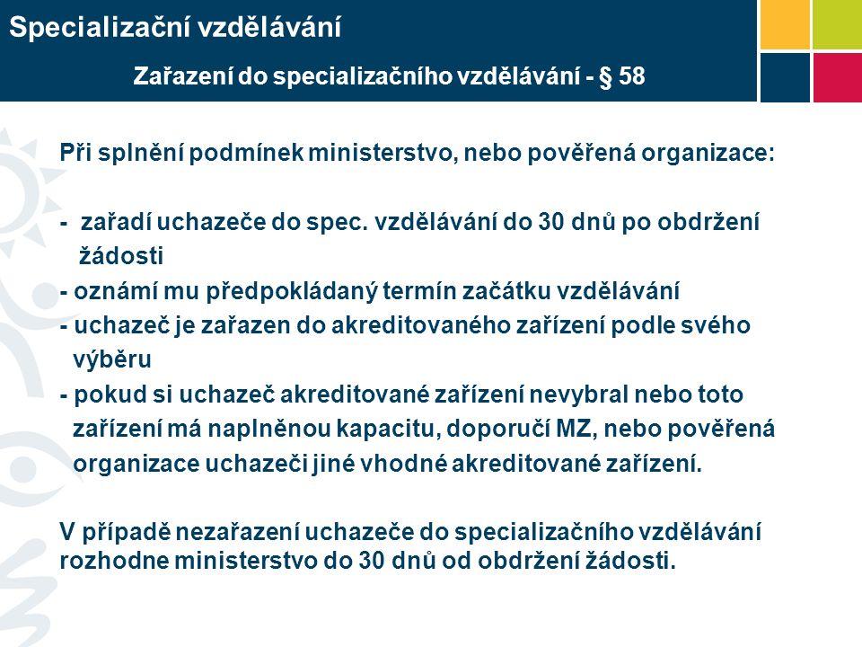 Při splnění podmínek ministerstvo, nebo pověřená organizace: - zařadí uchazeče do spec.