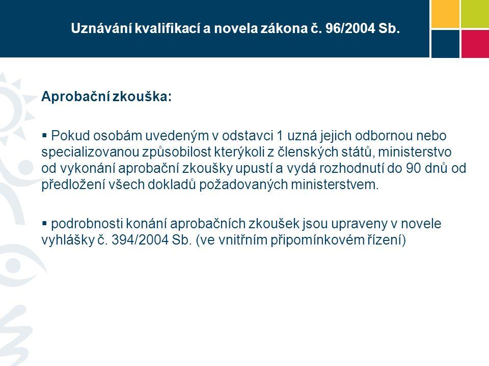 Uznávání kvalifikací a novela zákona č. 96/2004 Sb.