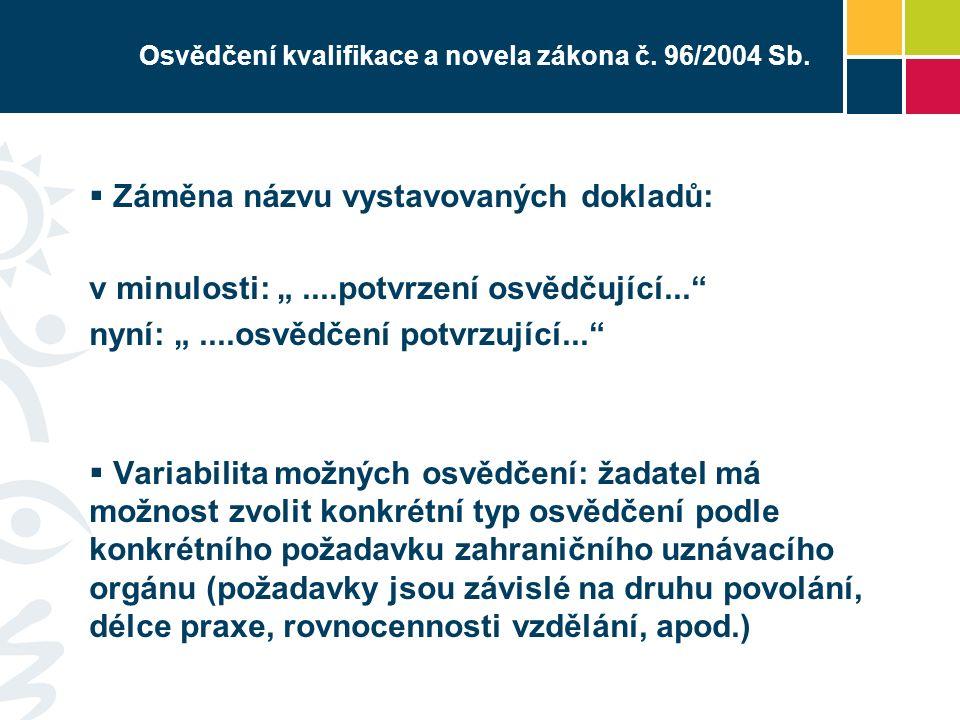 Osvědčení kvalifikace a novela zákona č.96/2004 Sb.