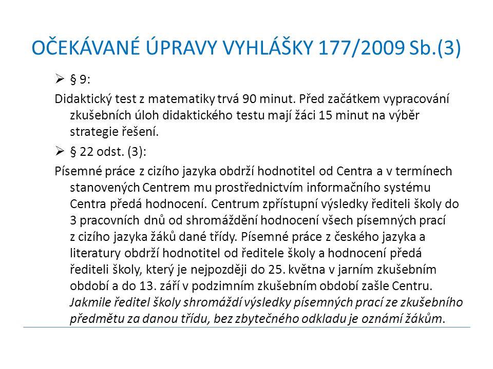 OČEKÁVANÉ ÚPRAVY VYHLÁŠKY 177/2009 Sb.(3)  § 9: Didaktický test z matematiky trvá 90 minut.