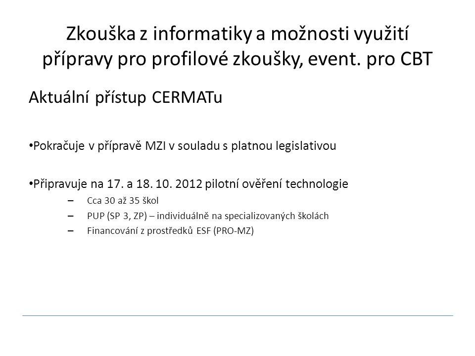 Zkouška z informatiky a možnosti využití přípravy pro profilové zkoušky, event.