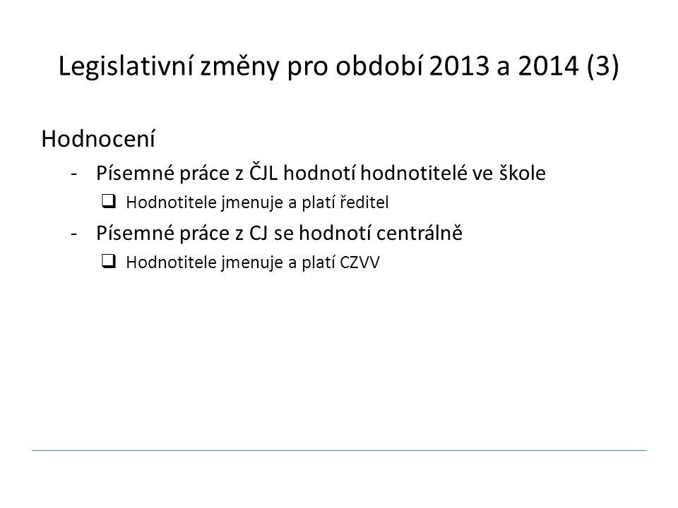 Legislativní změny pro období 2013 a 2014 (3) Hodnocení -Písemné práce z ČJL hodnotí hodnotitelé ve škole  Hodnotitele jmenuje a platí ředitel -Písemné práce z CJ se hodnotí centrálně  Hodnotitele jmenuje a platí CZVV