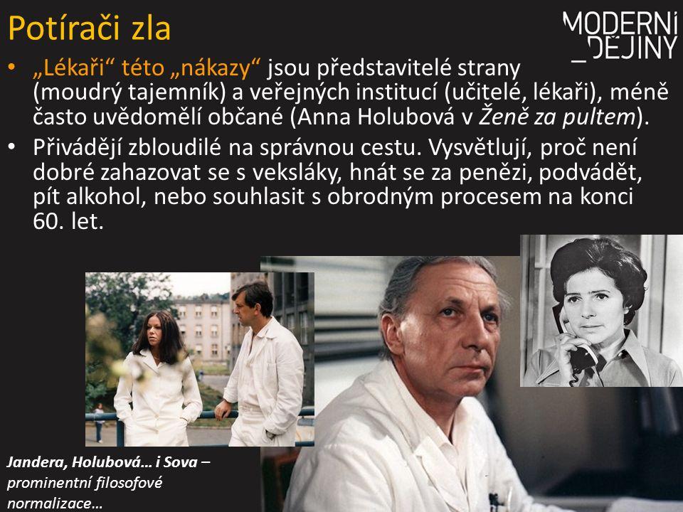 """Potírači zla """"Lékaři této """"nákazy jsou představitelé strany (moudrý tajemník) a veřejných institucí (učitelé, lékaři), méně často uvědomělí občané (Anna Holubová v Ženě za pultem)."""