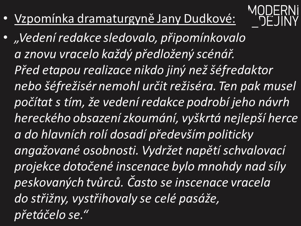 """Vzpomínka dramaturgyně Jany Dudkové: """"Vedení redakce sledovalo, připomínkovalo a znovu vracelo každý předložený scénář."""
