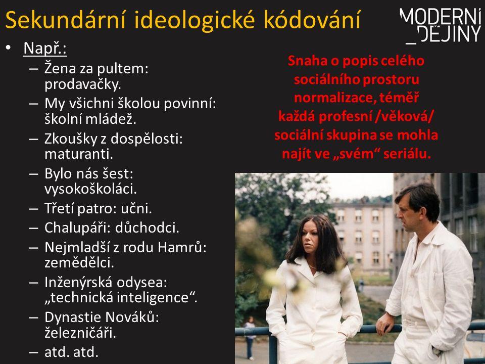 Sekundární ideologické kódování Např.: – Žena za pultem: prodavačky.