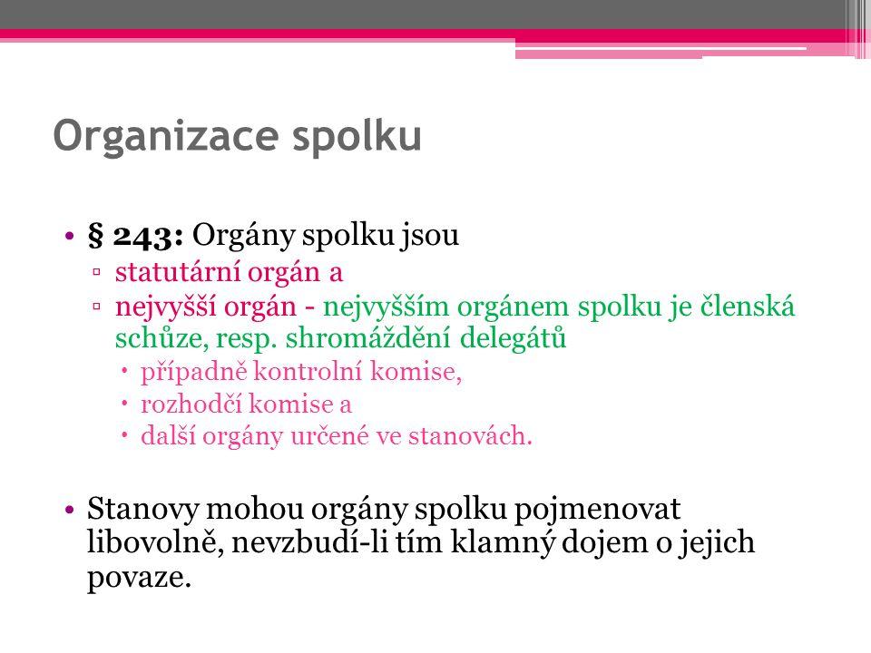 Organizace spolku § 243: Orgány spolku jsou ▫statutární orgán a ▫nejvyšší orgán - nejvyšším orgánem spolku je členská schůze, resp.