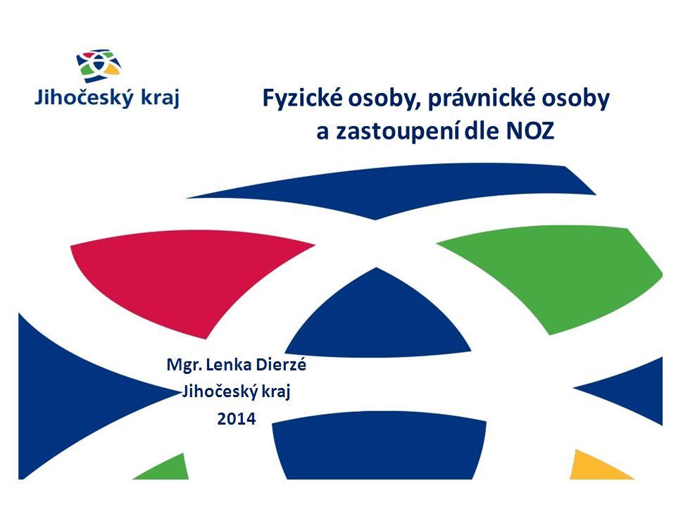 Fyzické osoby, právnické osoby a zastoupení dle NOZ Mgr. Lenka Dierzé Jihočeský kraj 2014