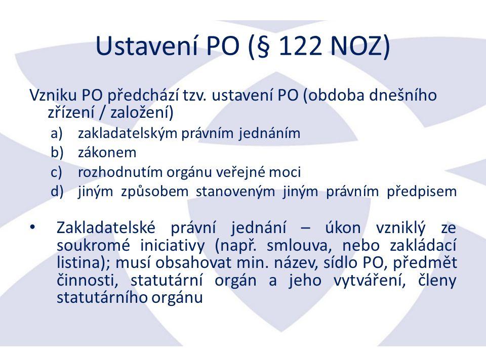 Ustavení PO (§ 122 NOZ) Vzniku PO předchází tzv.