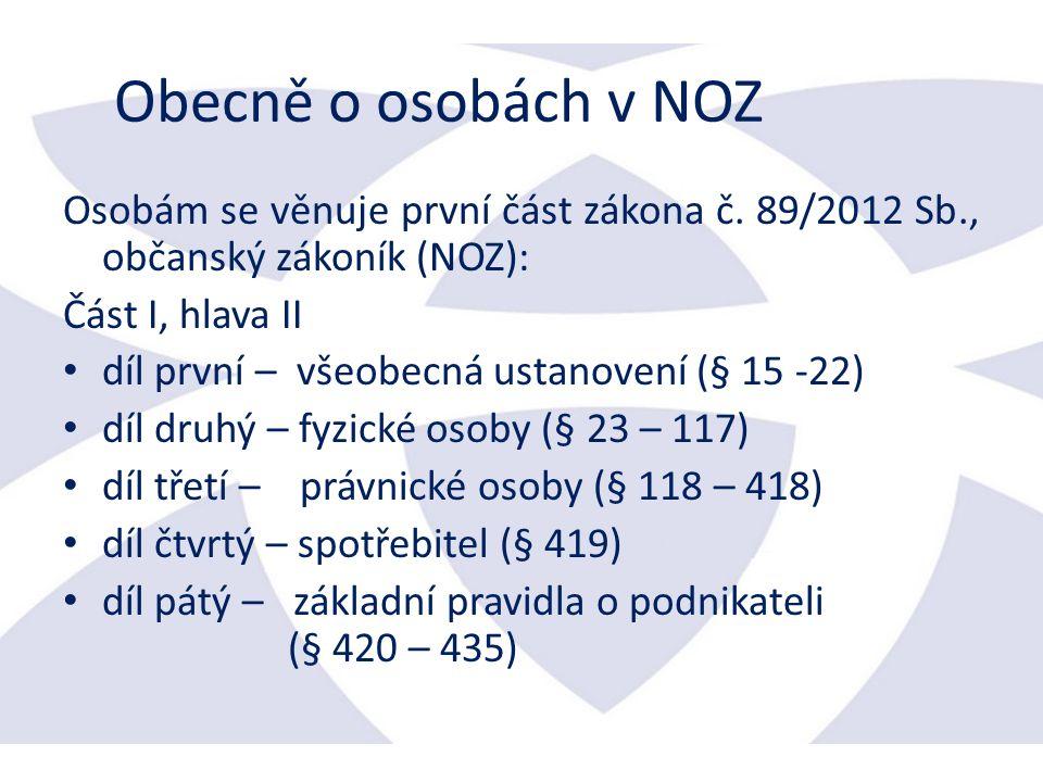 Obecně o osobách v NOZ Osobám se věnuje první část zákona č.