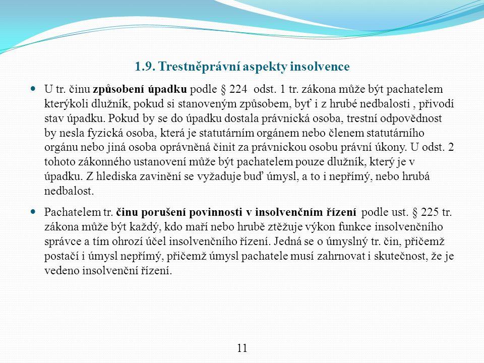 1.9. Trestněprávní aspekty insolvence U tr. činu způsobení úpadku podle § 224 odst.