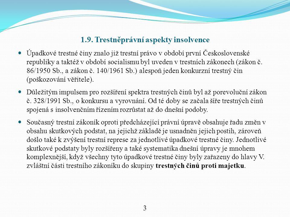1.9. Trestněprávní aspekty insolvence Úpadkové trestné činy znalo již trestní právo v období první Československé republiky a taktéž v období socialis