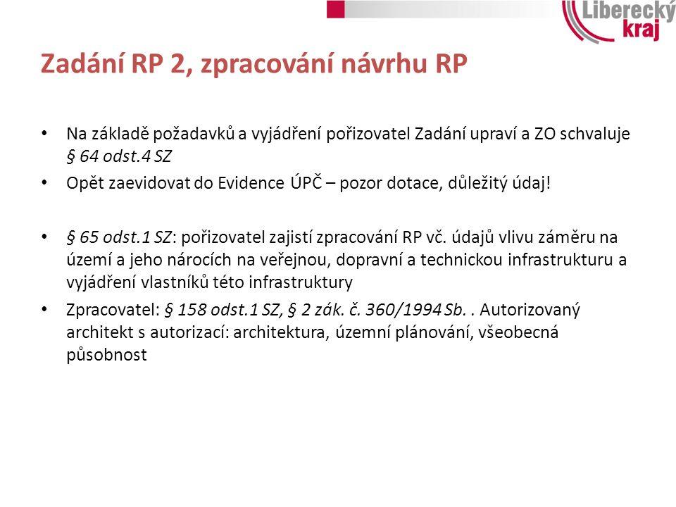 Zadání RP 2, zpracování návrhu RP Na základě požadavků a vyjádření pořizovatel Zadání upraví a ZO schvaluje § 64 odst.4 SZ Opět zaevidovat do Evidence