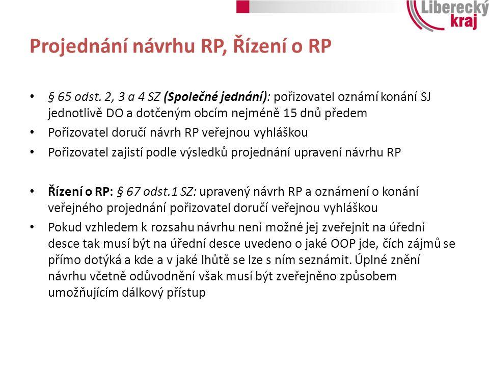 Projednání návrhu RP, Řízení o RP § 65 odst. 2, 3 a 4 SZ (Společné jednání): pořizovatel oznámí konání SJ jednotlivě DO a dotčeným obcím nejméně 15 dn