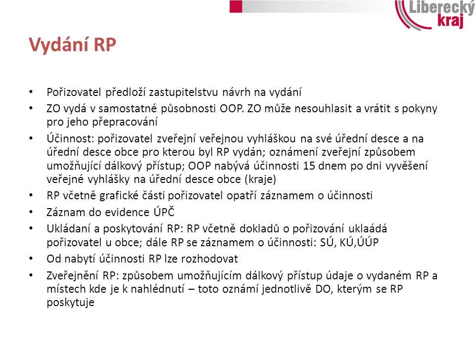 Vydání RP Pořizovatel předloží zastupitelstvu návrh na vydání ZO vydá v samostatné působnosti OOP. ZO může nesouhlasit a vrátit s pokyny pro jeho přep