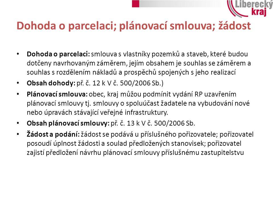 Dohoda o parcelaci; plánovací smlouva; žádost Dohoda o parcelaci: smlouva s vlastníky pozemků a staveb, které budou dotčeny navrhovaným záměrem, jejím