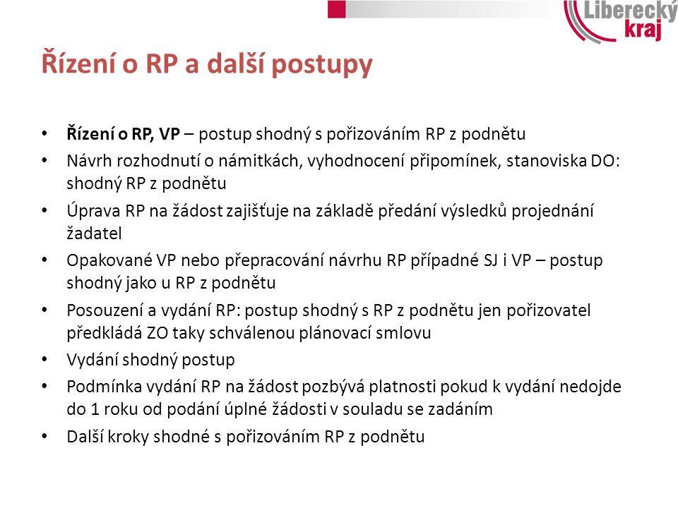 Řízení o RP a další postupy Řízení o RP, VP – postup shodný s pořizováním RP z podnětu Návrh rozhodnutí o námitkách, vyhodnocení připomínek, stanovisk