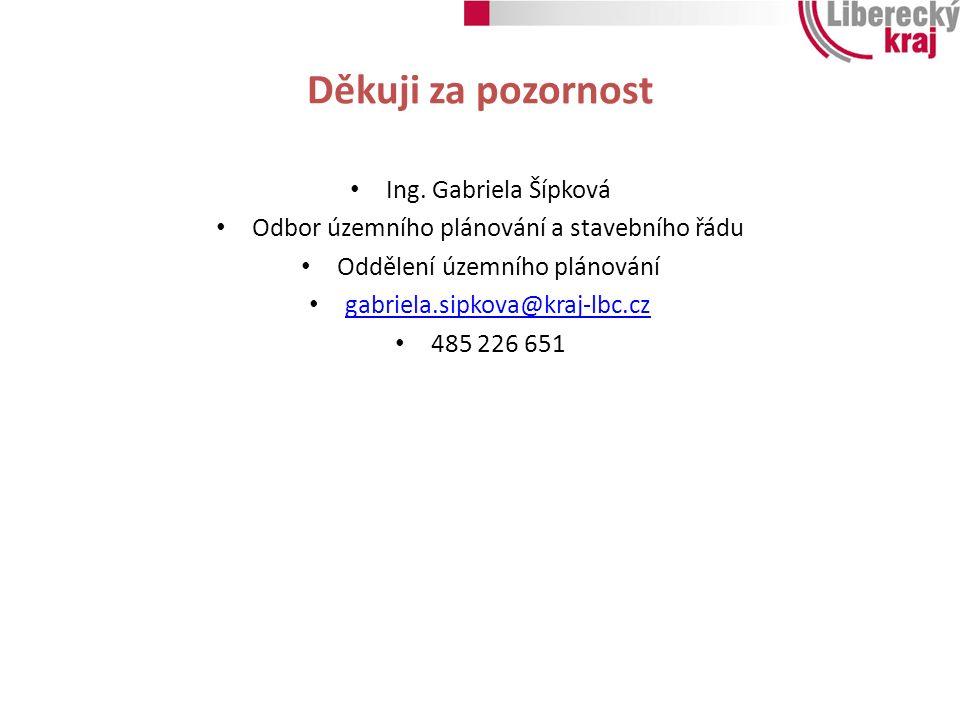 Děkuji za pozornost Ing. Gabriela Šípková Odbor územního plánování a stavebního řádu Oddělení územního plánování gabriela.sipkova@kraj-lbc.cz 485 226