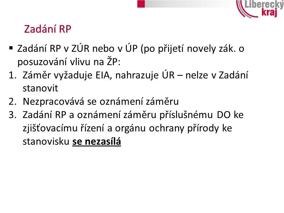 Zadání RP  Zadání RP v ZÚR nebo v ÚP (po přijetí novely zák. o posuzování vlivu na ŽP: 1.Záměr vyžaduje EIA, nahrazuje ÚR – nelze v Zadání stanovit 2