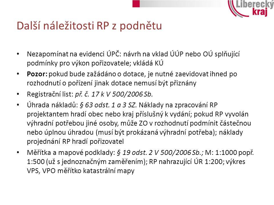 Řízení o RP a další postupy Řízení o RP, VP – postup shodný s pořizováním RP z podnětu Návrh rozhodnutí o námitkách, vyhodnocení připomínek, stanoviska DO: shodný RP z podnětu Úprava RP na žádost zajišťuje na základě předání výsledků projednání žadatel Opakované VP nebo přepracování návrhu RP případné SJ i VP – postup shodný jako u RP z podnětu Posouzení a vydání RP: postup shodný s RP z podnětu jen pořizovatel předkládá ZO taky schválenou plánovací smlovu Vydání shodný postup Podmínka vydání RP na žádost pozbývá platnosti pokud k vydání nedojde do 1 roku od podání úplné žádosti v souladu se zadáním Další kroky shodné s pořizováním RP z podnětu