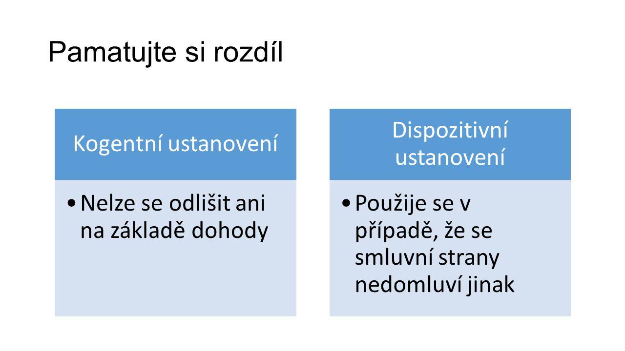 Pamatujte si rozdíl Kogentní ustanovení Nelze se odlišit ani na základě dohody Dispozitivní ustanovení Použije se v případě, že se smluvní strany nedomluví jinak