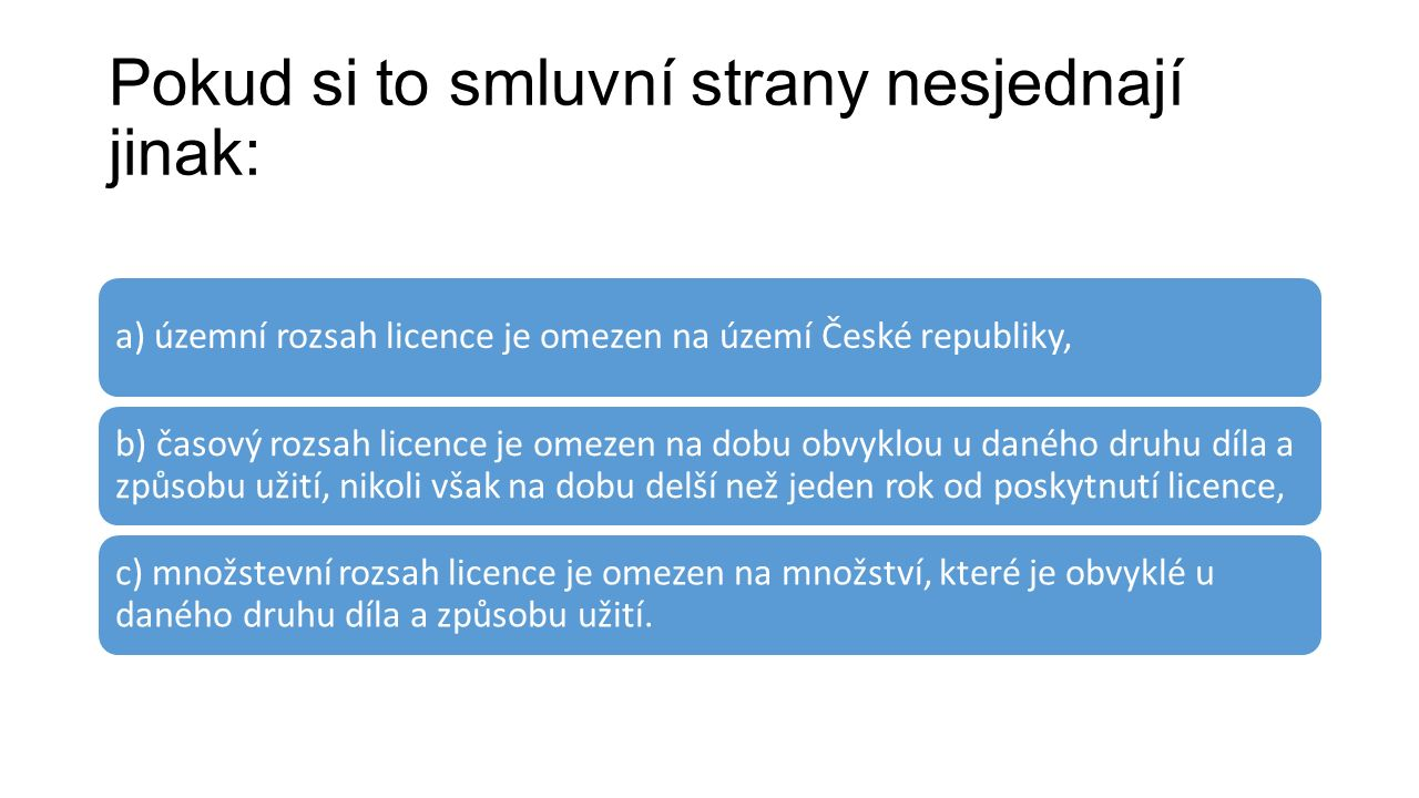 Pokud si to smluvní strany nesjednají jinak: a) územní rozsah licence je omezen na území České republiky, b) časový rozsah licence je omezen na dobu o