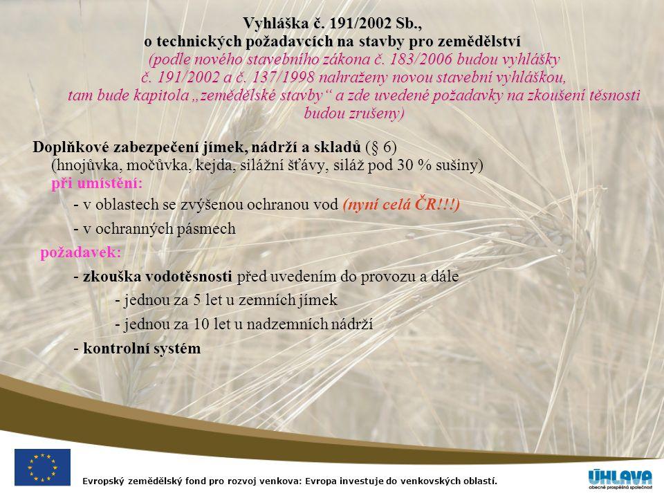Evropský zemědělský fond pro rozvoj venkova: Evropa investuje do venkovských oblastí. Vyhláška č. 191/2002 Sb., o technických požadavcích na stavby pr