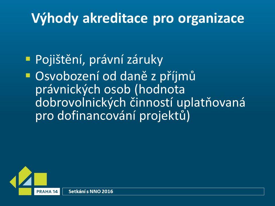 Výhody akreditace pro organizace  Pojištění, právní záruky  Osvobození od daně z příjmů právnických osob (hodnota dobrovolnických činností uplatňovaná pro dofinancování projektů) Setkání s NNO 2016