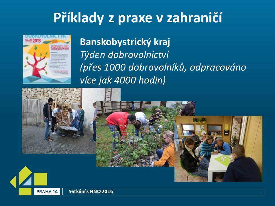 Příklady z praxe v zahraničí Banskobystrický kraj Týden dobrovolnictví (přes 1000 dobrovolníků, odpracováno více jak 4000 hodin) Setkání s NNO 2016