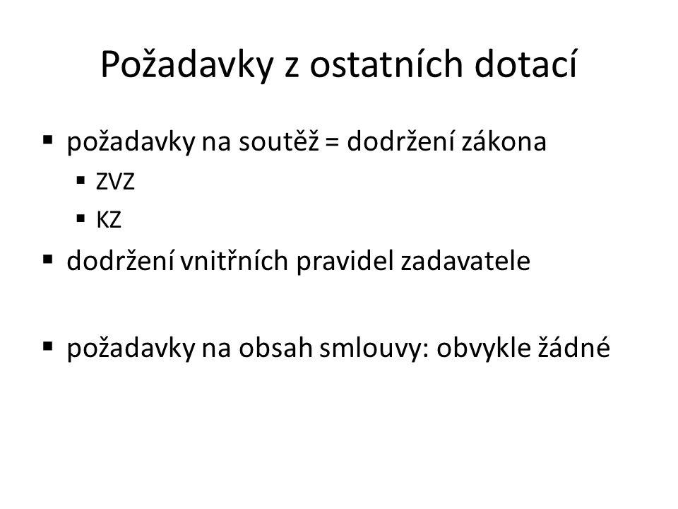Požadavky z ostatních dotací  požadavky na soutěž = dodržení zákona  ZVZ  KZ  dodržení vnitřních pravidel zadavatele  požadavky na obsah smlouvy: obvykle žádné
