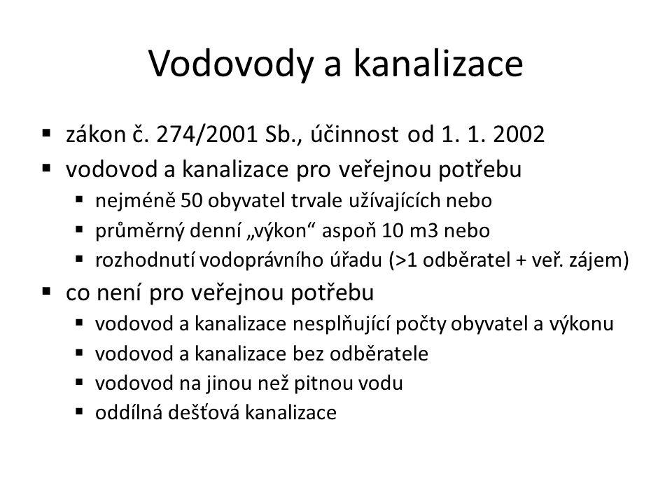 Vodovody a kanalizace  zákon č. 274/2001 Sb., účinnost od 1.