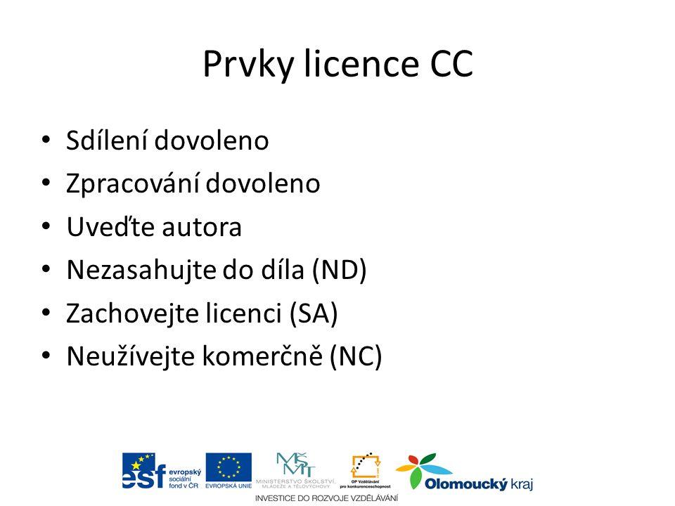 Prvky licence CC Sdílení dovoleno Zpracování dovoleno Uveďte autora Nezasahujte do díla (ND) Zachovejte licenci (SA) Neužívejte komerčně (NC) aabc