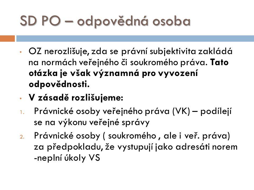 SD PO – odpovědná osoba OZ nerozlišuje, zda se právní subjektivita zakládá na normách veřejného či soukromého práva.