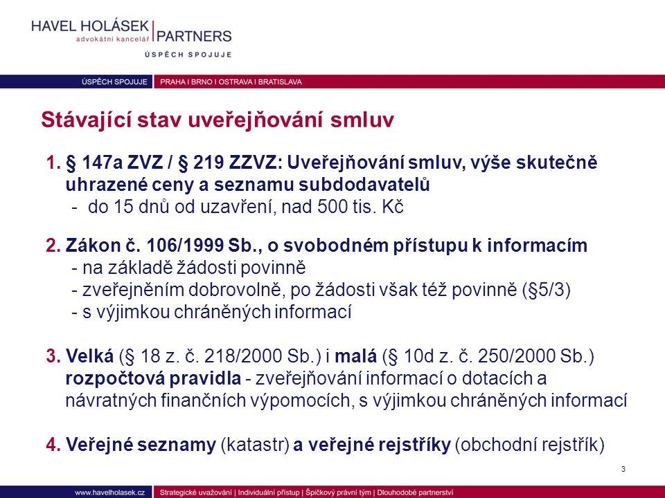 Povinnost uveřejnit se nevztahuje na d) smlouvu, jejíž plnění je prováděno převážně mimo území ČR, e) smlouvu uzavřenou adhezním způsobem, jejíž smluvní stranou je právnická osoba uvedená v § 2 odst.