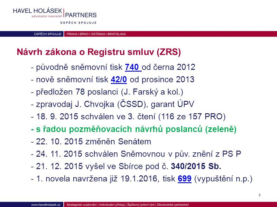 - původně sněmovní tisk 740 od černa 2012740 - nově sněmovní tisk 42/0 od prosince 201342/0 - předložen 78 poslanci (J.