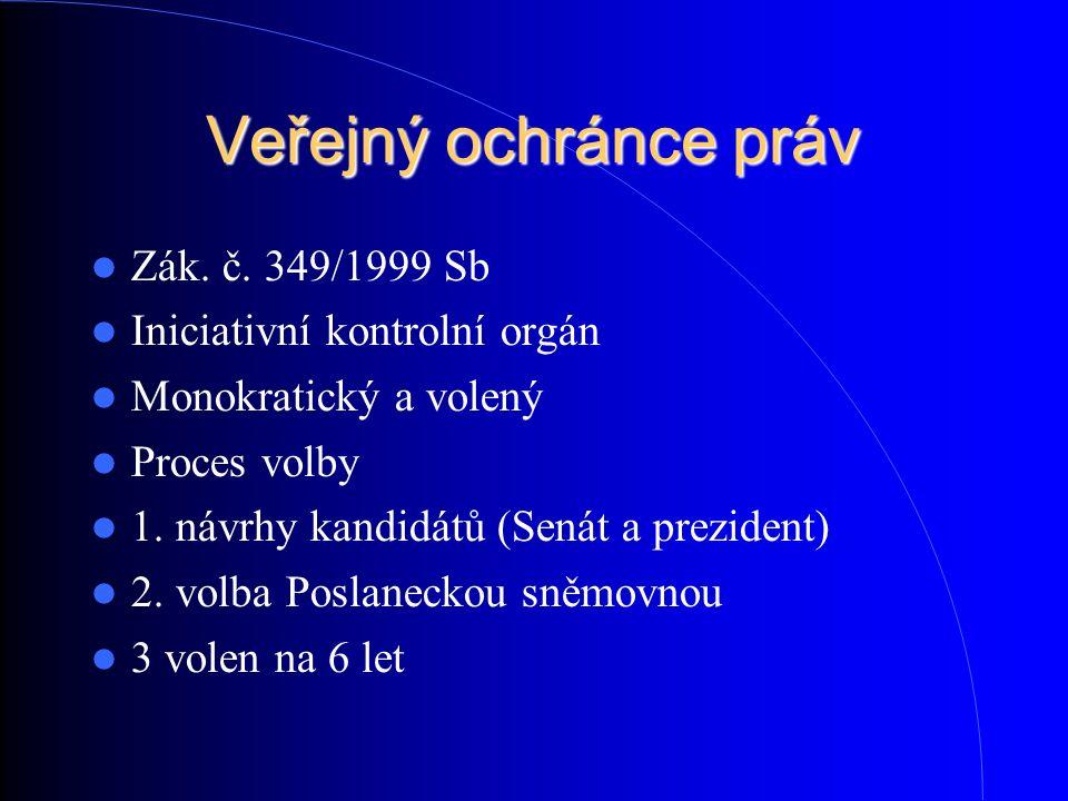 Veřejný ochránce práv Zák. č. 349/1999 Sb Iniciativní kontrolní orgán Monokratický a volený Proces volby 1. návrhy kandidátů (Senát a prezident) 2. v