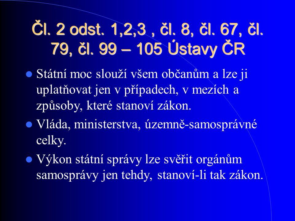 Čl. 2 odst. 1,2,3, čl. 8, čl. 67, čl. 79, čl. 99 – 105 Ústavy ČR Státní moc slouží všem občanům a lze ji uplatňovat jen v případech, v mezích a způsob