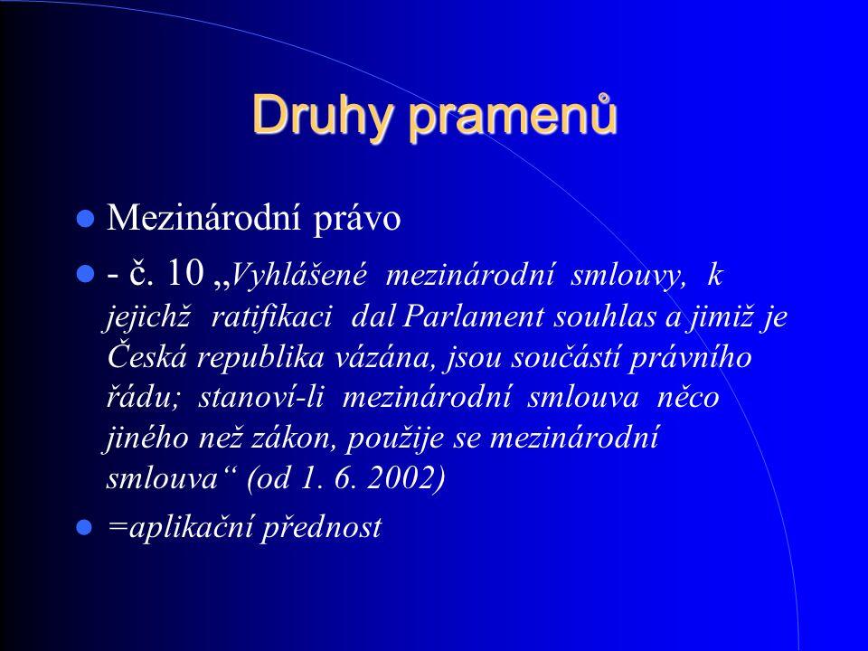 """Druhy pramenů Mezinárodní právo - č. 10 """" Vyhlášené mezinárodní smlouvy, k jejichž ratifikaci dal Parlament souhlas a jimiž je Česká republika vázána,"""