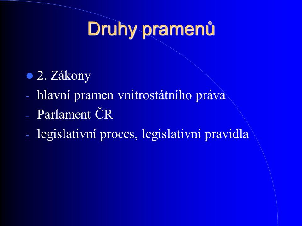 Druhy pramenů 2. Zákony - hlavní pramen vnitrostátního práva - Parlament ČR - legislativní proces, legislativní pravidla