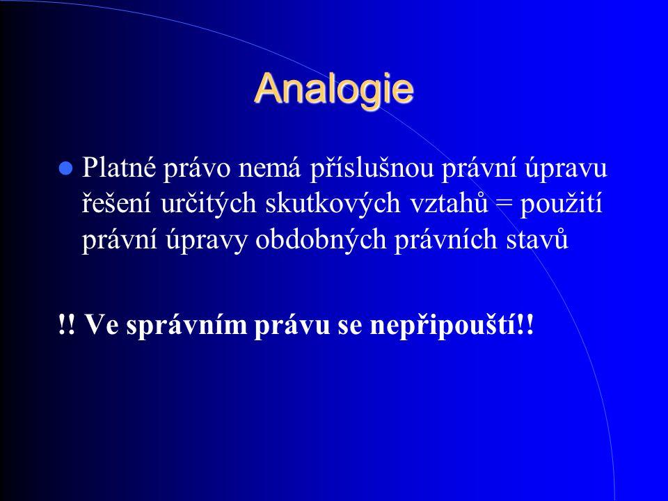 Analogie Platné právo nemá příslušnou právní úpravu řešení určitých skutkových vztahů = použití právní úpravy obdobných právních stavů !! Ve správním