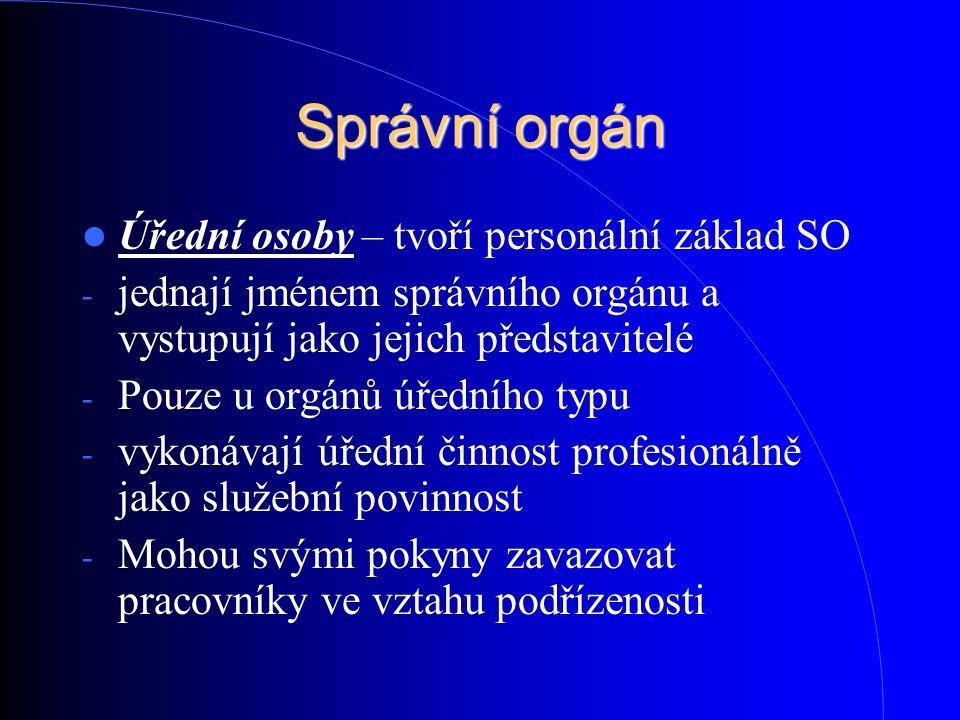 Správní orgán Úřední osoby – tvoří personální základ SO - jednají jménem správního orgánu a vystupují jako jejich představitelé - Pouze u orgánů úředn