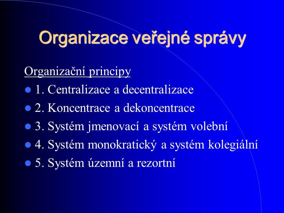Organizace veřejné správy Organizační principy 1. Centralizace a decentralizace 2. Koncentrace a dekoncentrace 3. Systém jmenovací a systém volební 4.