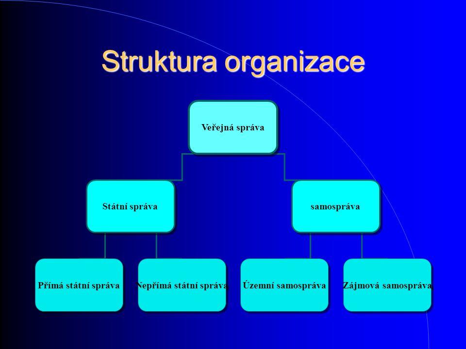 Struktura organizace Veřejná správa Státní správa samospráva Přímá státní správa Nepřímá státní správa Územní samospráva Zájmová samospráva