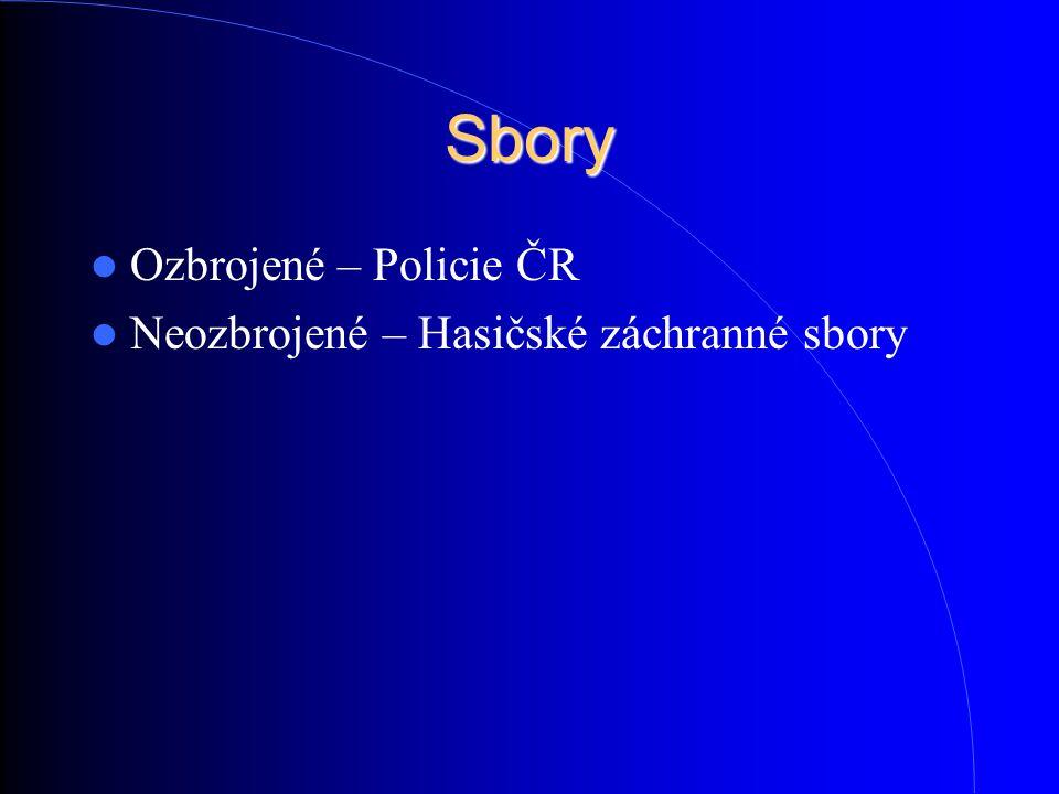 Sbory Ozbrojené – Policie ČR Neozbrojené – Hasičské záchranné sbory