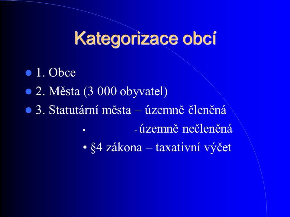 Kategorizace obcí 1. Obce 2. Města (3 000 obyvatel) 3. Statutární města – územně členěná - územně nečleněná §4 zákona – taxativní výčet