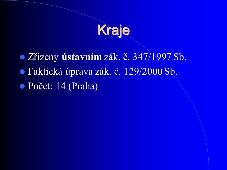 Kraje Zřízeny ústavním zák. č. 347/1997 Sb. Faktická úprava zák. č. 129/2000 Sb. Počet: 14 (Praha)
